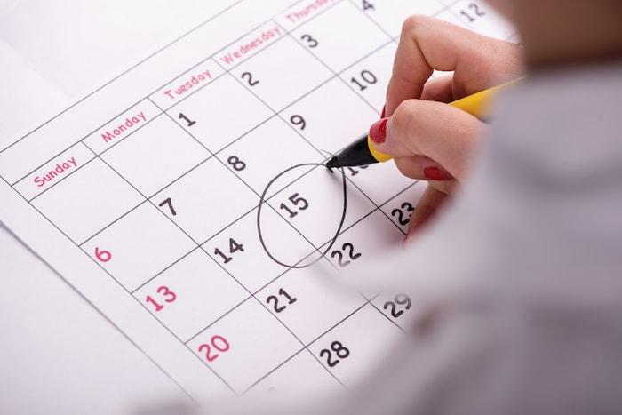 calendario marcado